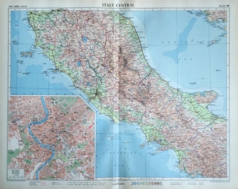 1958 Vintage Map of Italy, Central - Inset of Rome