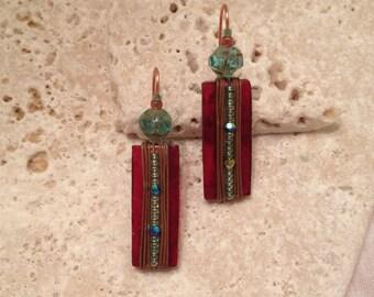 Rectangle Glass Earrings (long)