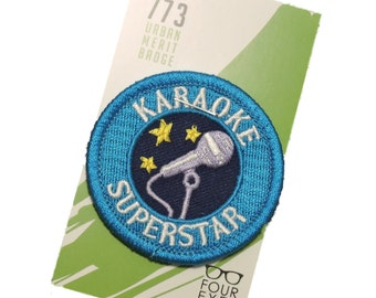Karaoke Superstar - Modern Merit Badge - Iron On Patch