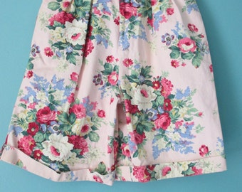 Vintage High Waisted  Shorts Denim Floral pink