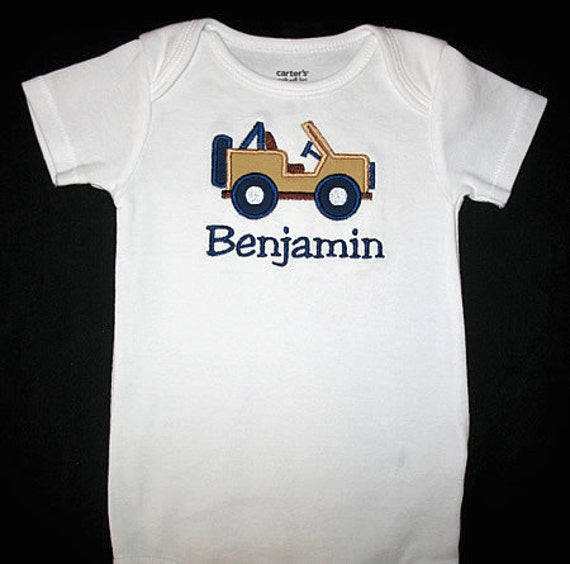 Custom Personalized Applique JEEP and NAME Bodysuit or Shirt - Tan with Navy Blue and Brown