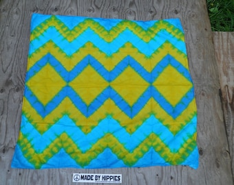"Argyle on Yellow Tie Dye Tapestry (Dharma Trading Co. Size 36"" x 36"") (One of a Kind)"