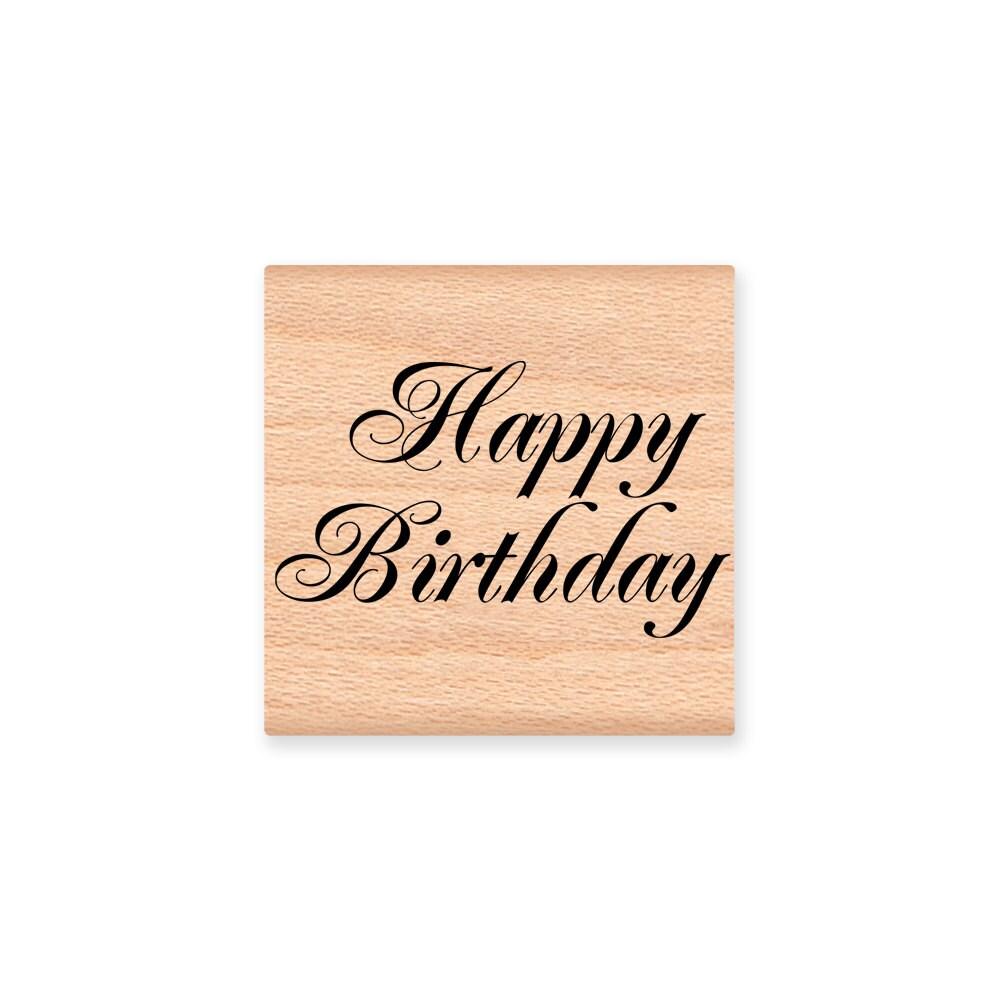 Happy Birthday StampPretty Script FontOrnate