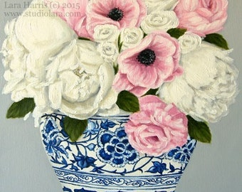 Pink Poppies and White Peonies in a Ming Vase . . . 8x10 Fine Art Giclee Print by LARA Ginger Jar