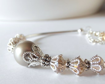Taupe Wedding Jewelry, Swarovski Pearl And Crystal Beaded Bridesmaid Bracelet, Pearl Bridal Jewelry, Matching Bridesmaid Set, Oyster, Greige