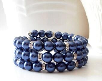 Memory Wire Bracelet, Dark Blue Pearl Beaded Bangle, Triple Stacked Bracelet, Bridesmaid Jewelry, Night Blue Wedding Jewellery