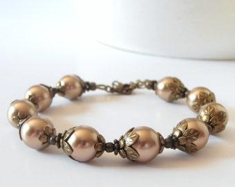 Light Brown Pearl Bridesmaid Bracelet, Antiqued Bronze Swarovski Pearl Wedding Jewelry, Beaded Bridesmaid Jewelry Sets, Cappuccino Wedding