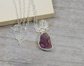 rough tourmaline necklace in red grape, organic shape tourmaline, 3.40ct red tourmaline, candy color gemstone necklace handmade in the UK