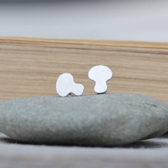 Mushroom Ear Studs In Sterling Silver, Handmade In The UK