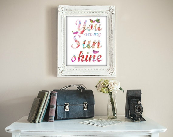 Two Prints PINK You Are My Sunshine You Make Me Happy When Skies Are Grey Print SET