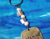 Gemstone Keychain, Pearls, Bamboo Coral, Dreaming of the Sea KeyChain
