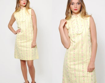 Vintage 60s Yellow Shift Dress Tiny DAISY Print Scooter Dress RUFFLE Mini Dress MOD Striped Summer Dress