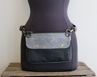 Fanny Pack Hip Pouch Charcoal and Black Waxed Canvas