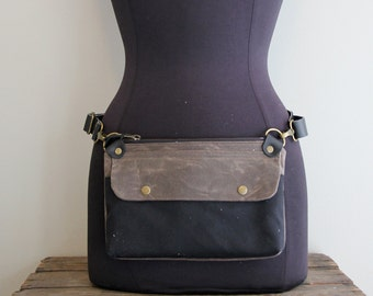 Fanny Pack Hip Pouch Brown and Black Waxed Canvas
