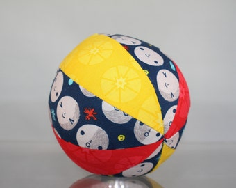 Man in the Moon - Rattle Ball - Baby Toddler Toy - Easy Grasp Soft Ball - Organic Cotton - Outer Space Theme