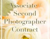 Second Shooter Contract  // Associate Photographer Agreement