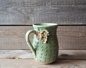 Stoneware Cactus Tea Cup  with  three flowers Handmade Ceramics  - MADE TO ORDER - Stoneware  - green - mug