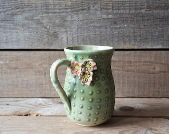 Stoneware Cactus Tea Cup  with  three flowers Handmade Ceramics  - MADE TO ORDER - Stoneware  - green - mug