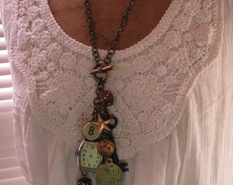 Upcycled Jewelry - Dice, Pocketknife, Watch, Key, Dog Tag, Cash Register Key and other Charms in Neutral Necklace Assemblage