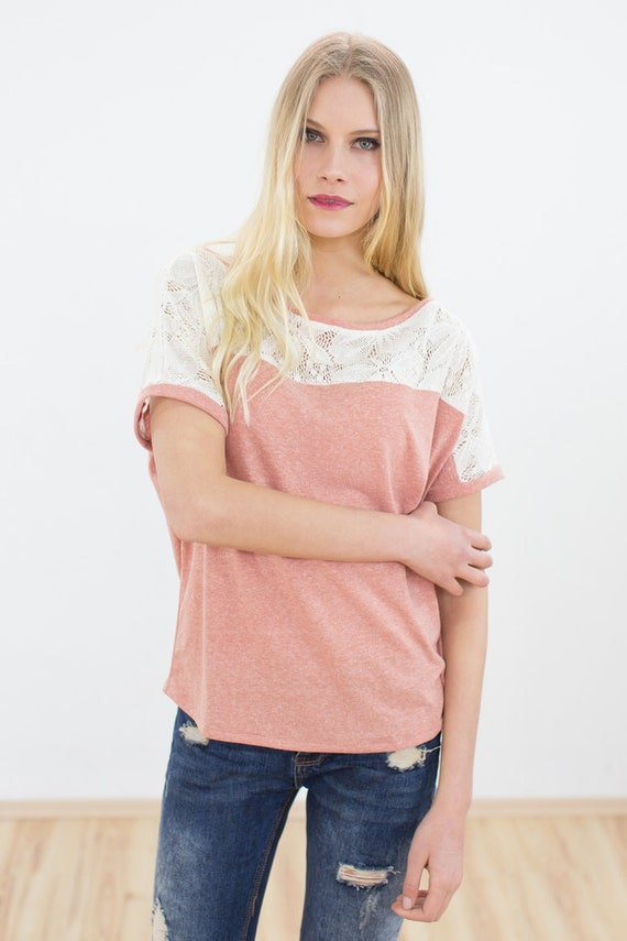 Loose fit Top Cutiepie in peach orange with lace detail by myshoko