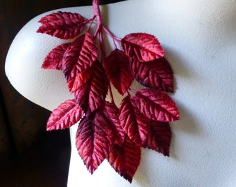 Velvet Leaves in Red Shaded for Boutonnieres, Bridal, Millinery, Crafts, Costumes ML 136