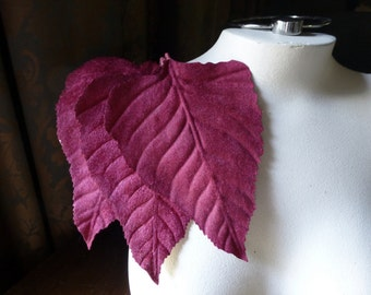 Velvet Leaves 3 Very Large in Deep Red for Bridal Headpieces, Hats, Floral Supply, Crafts ML 118