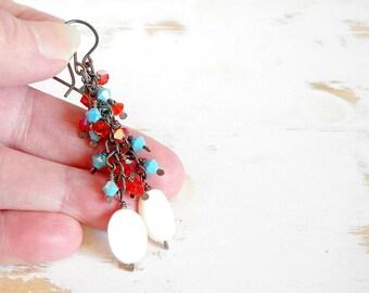 Red White and Blue Chain Drop Earrings, Hand Forged Jewelry, Cascade Earrings, Bohemian Earrings, Copper Wire Jewelry, Dangle Earrings