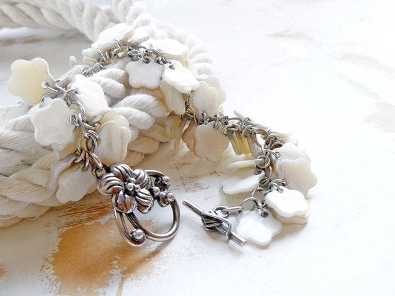 RESERVED FOR ERIN!!  Hawaiian Bracelet, White Shell Flowers, Sterling Silver