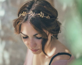 SALE. Gold Leaf Bridal Headband, Wedding Headband, Olive Leaf Bridal headband, Olive elastic Headband, boho headband, hippy chic gold tiara