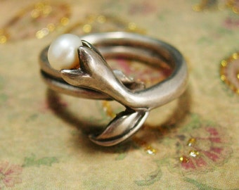 Vintage STERLING genuine TWO pearl RING size 6