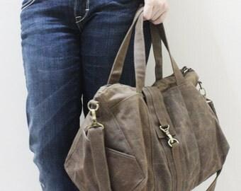 Tote Bag, zipper bag, Shoulder Bag, Diapers bag, Hobo Bag, weekender Bag, Gift For Women - DIAMOND Waxed Canvas in Brown - SALE 30% OFF