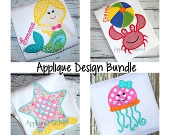 Machine Embroidery Design Beach Applique Bundle INSTANT DOWNLOAD