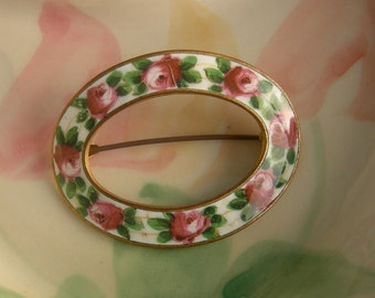 Antique Rose Enamel Brooch - Pink And Green Handpainted
