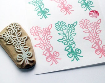 flower bouquet rubber stamp. hand carved rubber stamp. mother's day valentine birthday wedding scrapbooking. gift wrapping. holiday crafts
