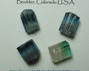 Sale 4 TOURMALINE Bicolor Indicolite Blue And Watermelon Small Terminated Crystals From Afghanistan Wire Wrap Supplies