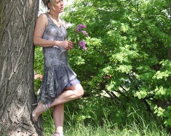 upcycled clothing, upcycled fashion, tattered dress . twilight dream . S - M