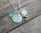 Siren of the Sea, Sterling Silver Mermaid Necklace, Sea glass and Personalized Initial charm disc, Beach Jewelry, Hand Stamped Jewelry