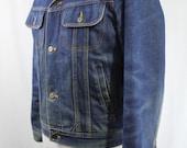 Vintage 70s Ranch Worn Silver Spur Fleece Lined Dark Denim Jean Trucker Winter Coat/  Size 38 Small