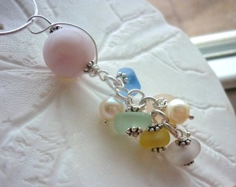 Sea Glass Necklace Marble Pink Yellow Beach Glass Jewelry Cluster Pendant Sterling