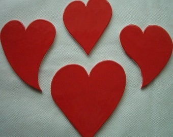 K4 - GIANT Red HEARTS - Ceramic Mosaic Tiles