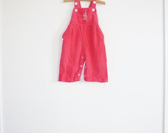 Vintage Coral Baby Overalls