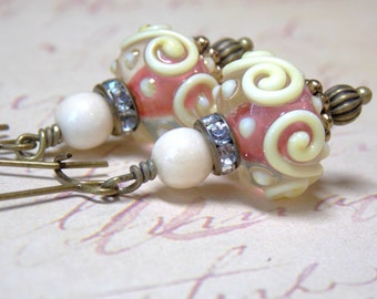 Ivory Swirl Earrings, Pink Lampwork Earrings,Ivory And Pink Earrings, Rhinestones Antique Brass Czech Beaded Earrings