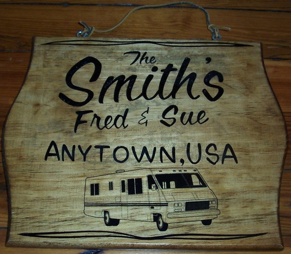 Rustic Motors 3d Custom Made Jewelry Home: Personalized RV Sign Wood Plaque Custom Made
