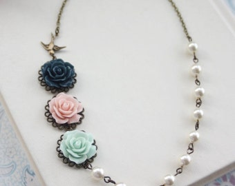 Pink, Mint, Navy, Flying Swallow Bird, Ivory Pearls Necklace, Trio Three Flowers Necklace. Bridesmaids Gifts. Pink and Mint Wedding, Rustic