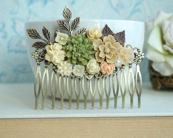 Fall Shabby Wedding Comb. Nature, Brown, Peach, Green Rustic, Ivory Leaf Flower Hair Comb. Bridesmaids Gift. Green and Brown Country Wedding