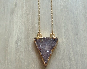 Amethyst Druzy Necklace Gold Filled - Perseid Necklace