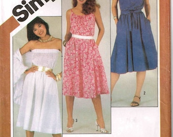 Pullover Sleeveless Sundress Square Neckline Shawl Simplicity 5498 Sewing Pattern  Size 12 Bust 34 1980s