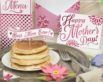 Mother's Day Breakfast in Bed printable DIY kit card, menu, paper flowers, wrapper, pancake topper, #1 MOM banner, Pink Glitter Mother's day