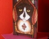 Tudor Cat Card, Catherine of Aragon Tuxedo Kitty 5x7 Blank Greeting Card