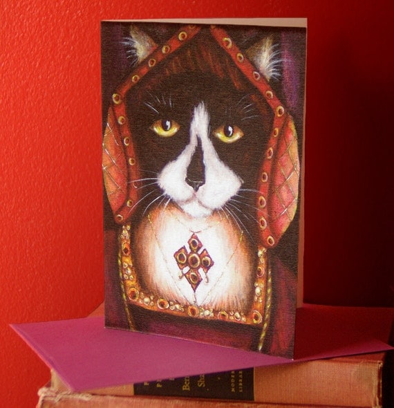 Tudor Cat Card, Catherine of Aragon Tuxedo Kitty 5x7 Blank Greeting Card